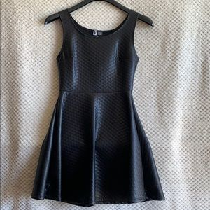 Black fux leather dress
